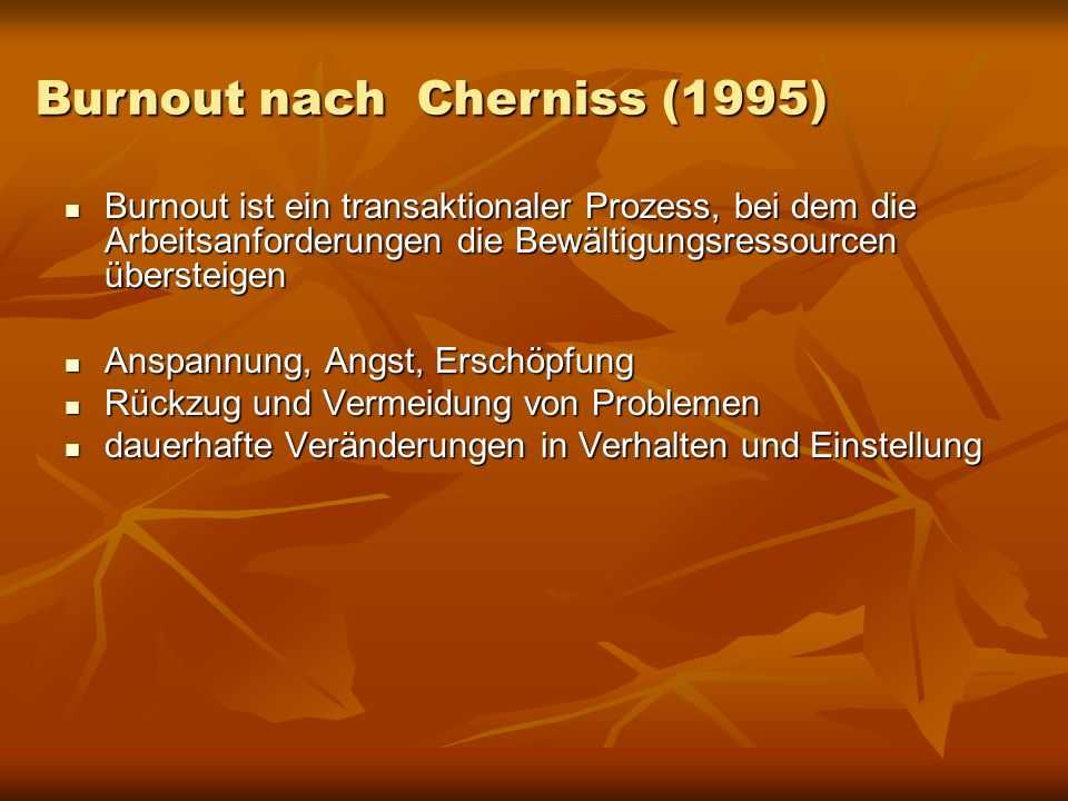 Burnout nach Cherniss (1995)