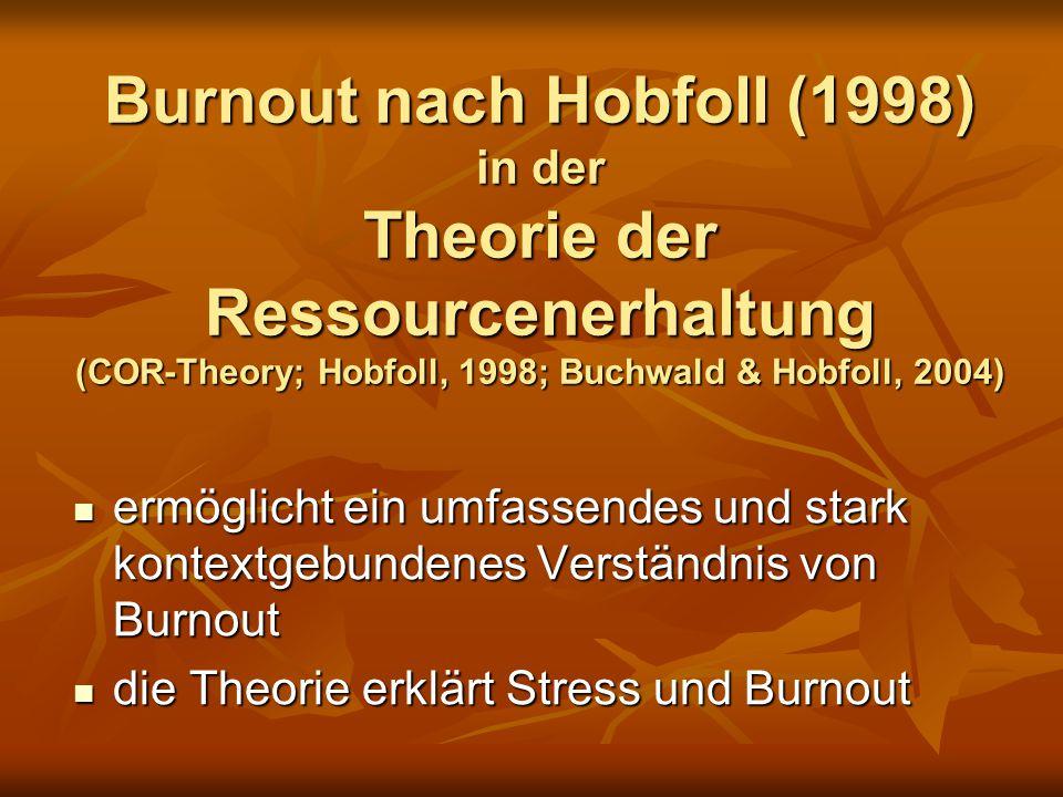 Burnout nach Hobfoll (1998) in der Theorie der Ressourcenerhaltung (COR-Theory; Hobfoll, 1998; Buchwald & Hobfoll, 2004)