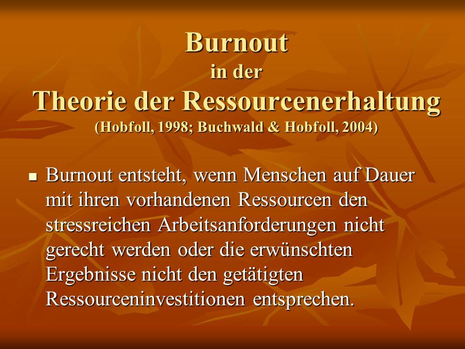 Burnout in der Theorie der Ressourcenerhaltung (Hobfoll, 1998; Buchwald & Hobfoll, 2004)