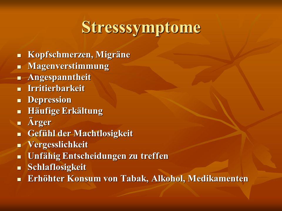 Stresssymptome Kopfschmerzen, Migräne Magenverstimmung Angespanntheit