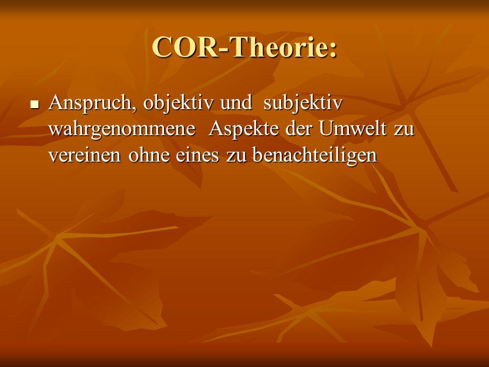 COR-Theorie: Anspruch, objektiv und subjektiv wahrgenommene Aspekte der Umwelt zu vereinen ohne eines zu benachteiligen.