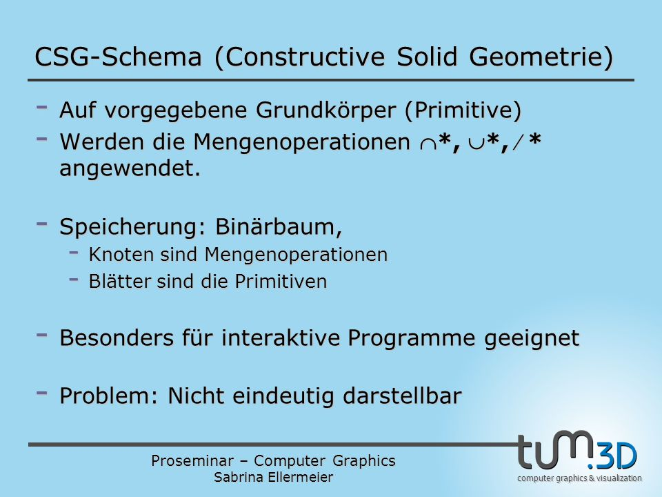 CSG-Schema (Constructive Solid Geometrie)