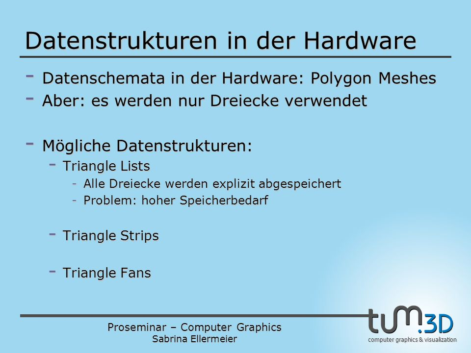 Datenstrukturen in der Hardware