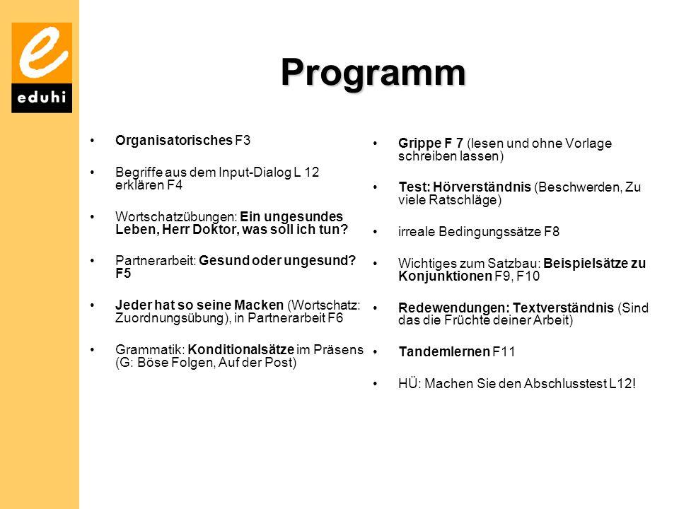 Programm Organisatorisches F3