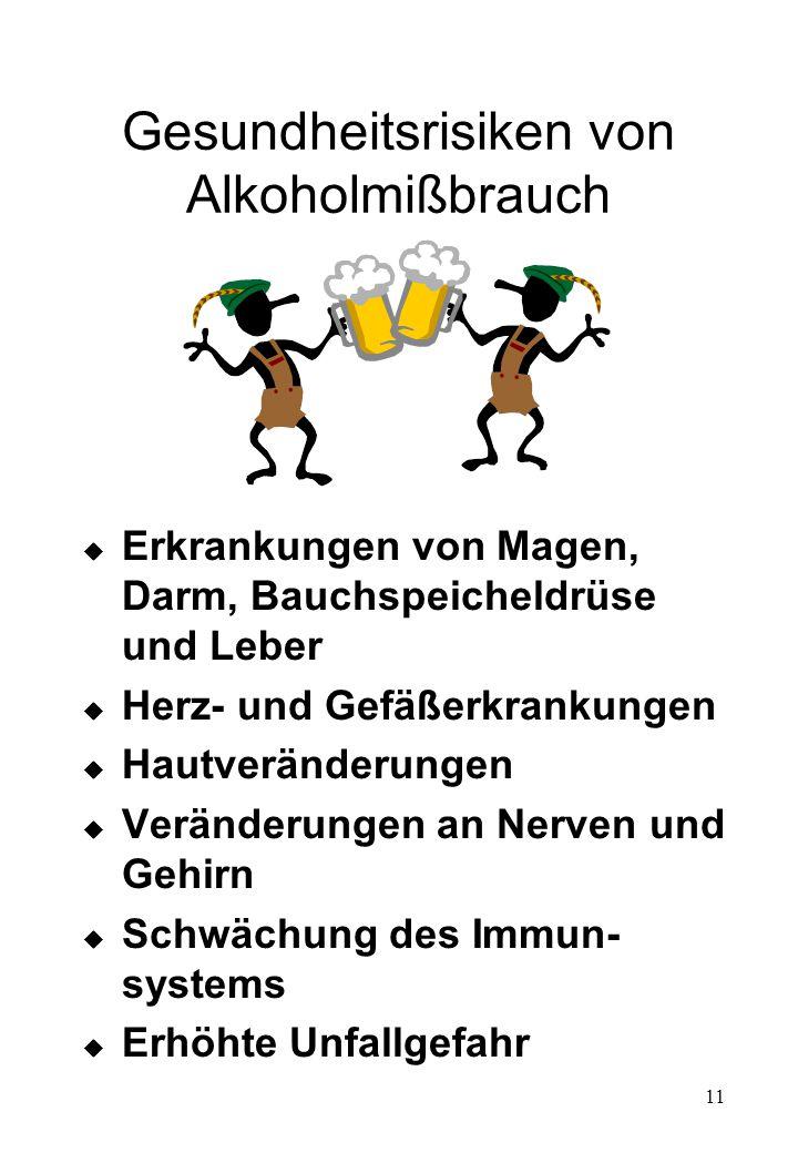 Gesundheitsrisiken von Alkoholmißbrauch
