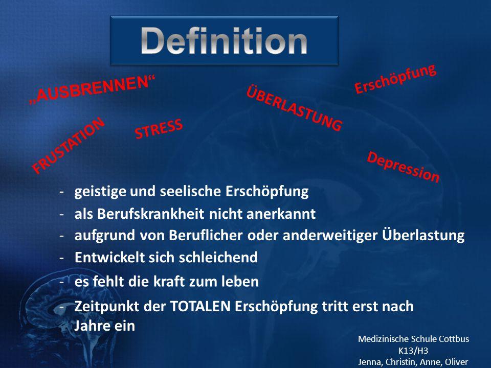 """Definition Erschöpfung """"AUSBRENNEN ÜBERLASTUNG STRESS FRUSTATION"""