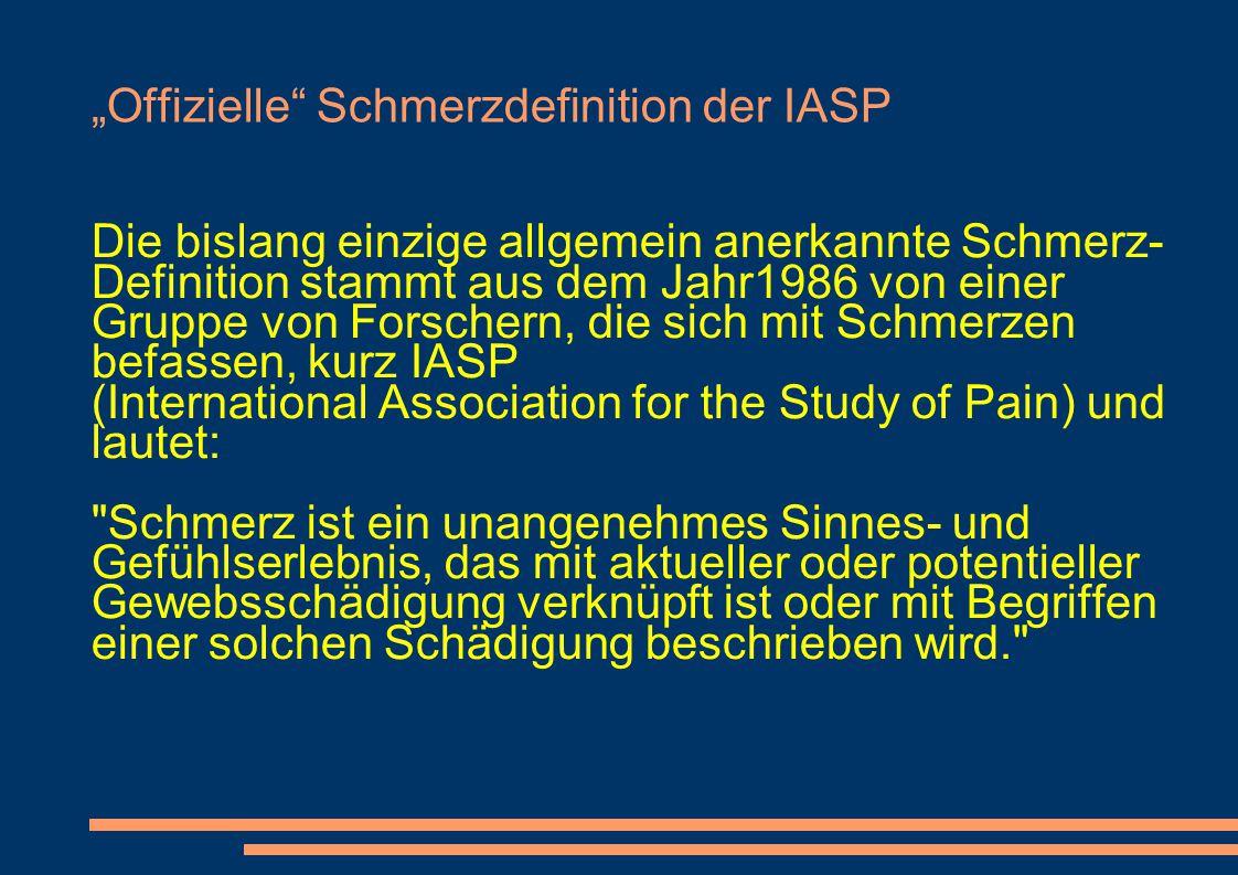 """""""Offizielle Schmerzdefinition der IASP"""