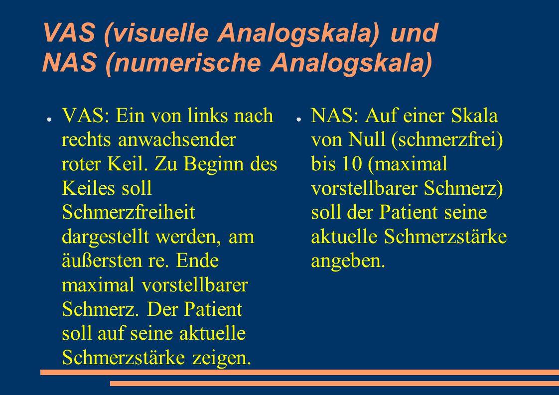 VAS (visuelle Analogskala) und NAS (numerische Analogskala)
