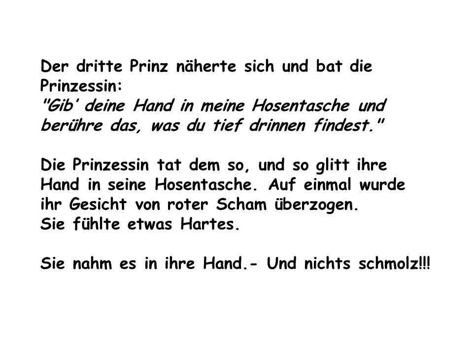 Der dritte Prinz näherte sich und bat die Prinzessin: Gib' deine Hand in meine Hosentasche und berühre das, was du tief drinnen findest. Die Prinzessin tat dem so, und so glitt ihre Hand in seine Hosentasche.