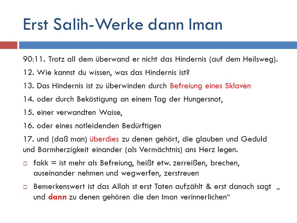 Erst Salih-Werke dann Iman