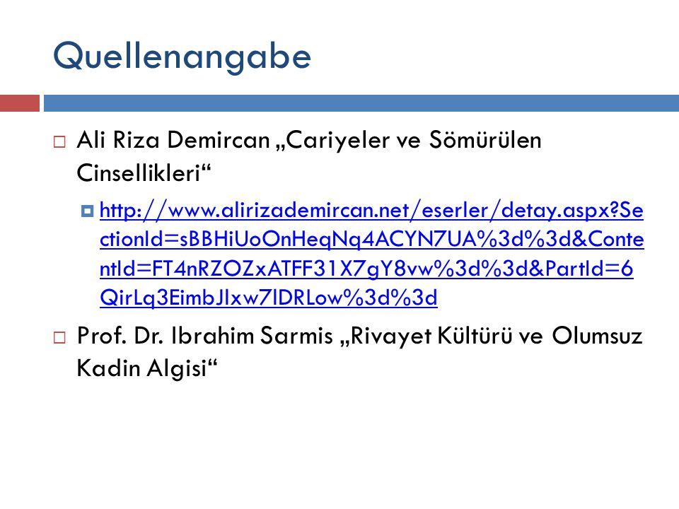 """Quellenangabe Ali Riza Demircan """"Cariyeler ve Sömürülen Cinsellikleri"""