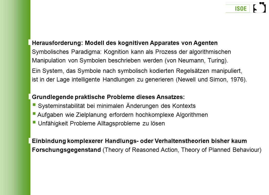 Herausforderung: Modell des kognitiven Apparates von Agenten