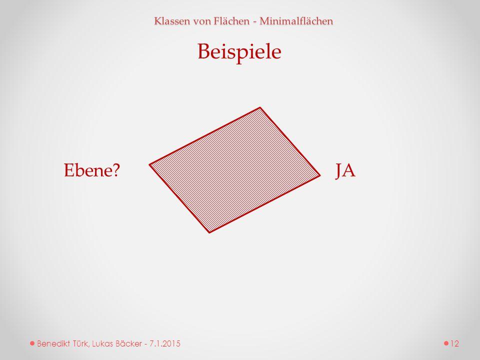 Beispiele Ebene JA Klassen von Flächen - Minimalflächen