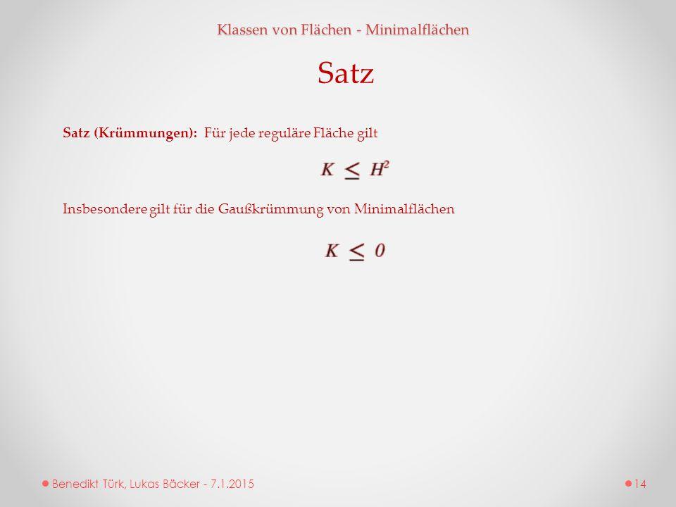 Satz Klassen von Flächen - Minimalflächen