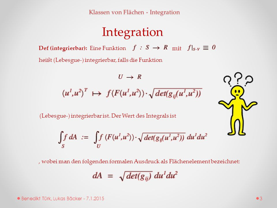 Integration Klassen von Flächen - Integration mit