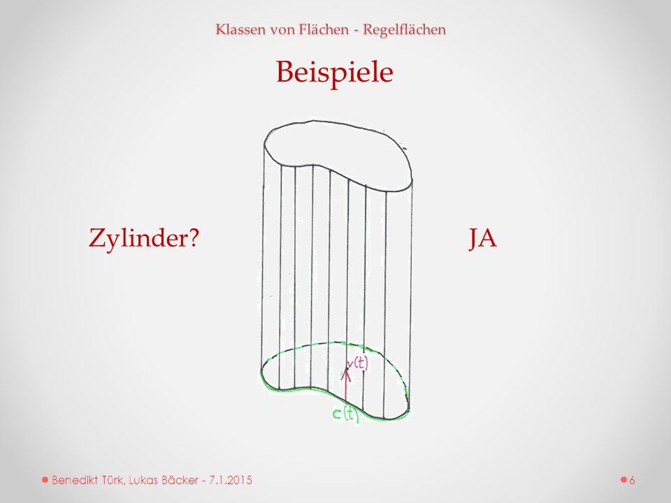 Beispiele Zylinder JA Klassen von Flächen - Regelflächen