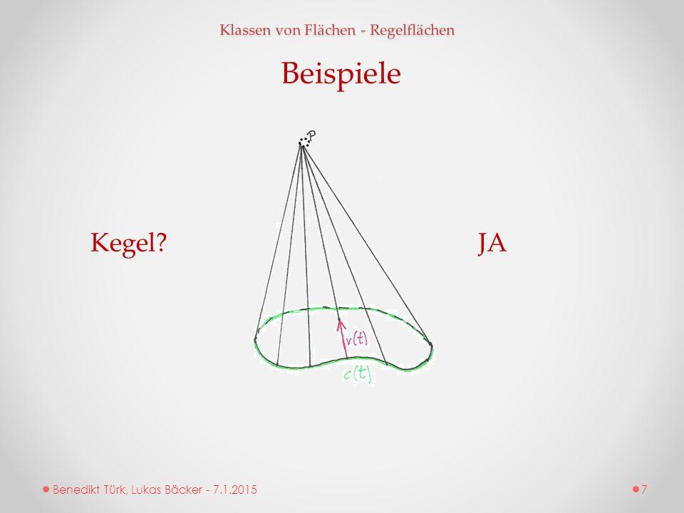 Beispiele Kegel JA Klassen von Flächen - Regelflächen