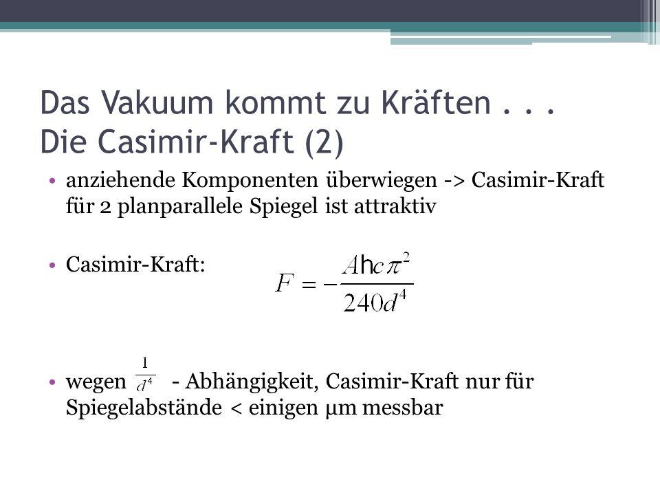 Das Vakuum kommt zu Kräften . . . Die Casimir-Kraft (2)
