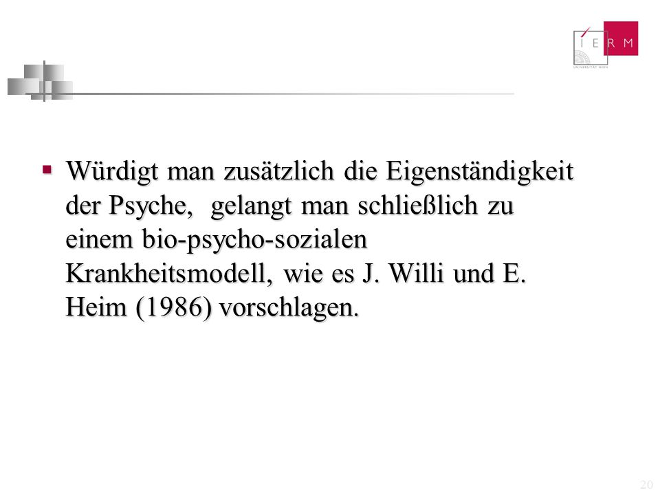 Würdigt man zusätzlich die Eigenständigkeit der Psyche, gelangt man schließlich zu einem bio-psycho-sozialen Krankheitsmodell, wie es J.