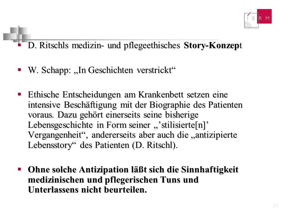 D. Ritschls medizin- und pflegeethisches Story-Konzept