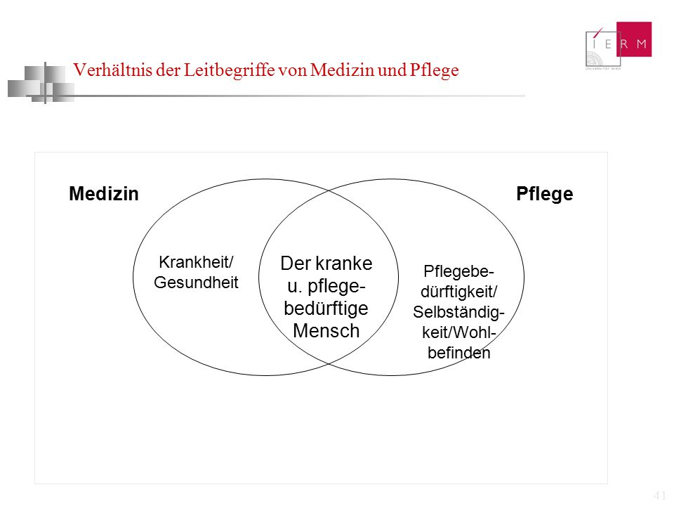 Verhältnis der Leitbegriffe von Medizin und Pflege