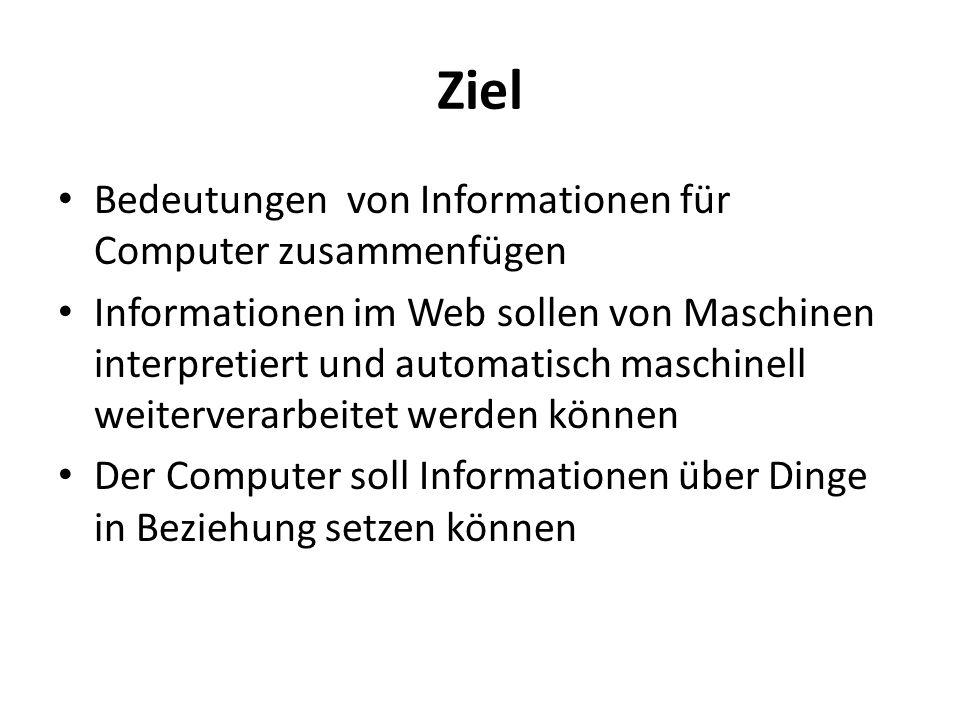 Ziel Bedeutungen von Informationen für Computer zusammenfügen