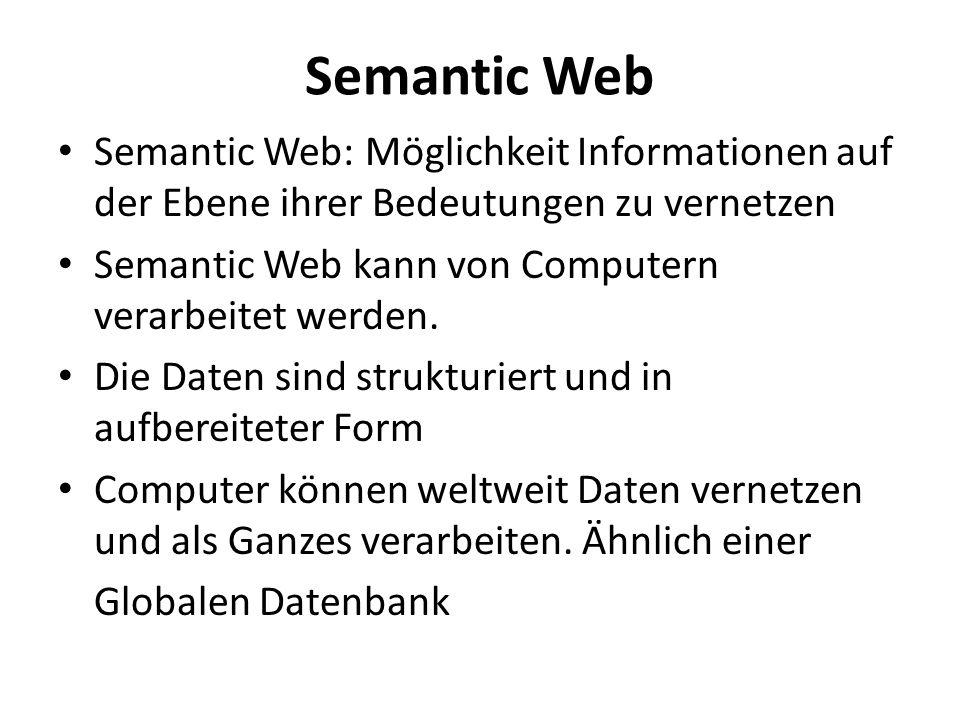 Semantic Web Semantic Web: Möglichkeit Informationen auf der Ebene ihrer Bedeutungen zu vernetzen.