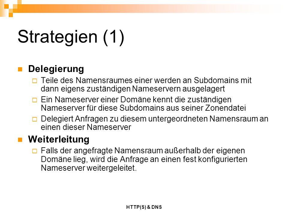 Strategien (1) Delegierung Weiterleitung