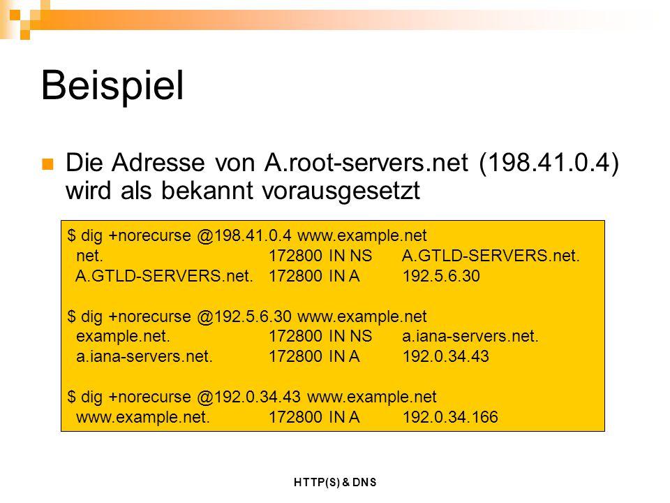 Beispiel Die Adresse von A.root-servers.net (198.41.0.4) wird als bekannt vorausgesetzt. $ dig +norecurse @198.41.0.4 www.example.net.