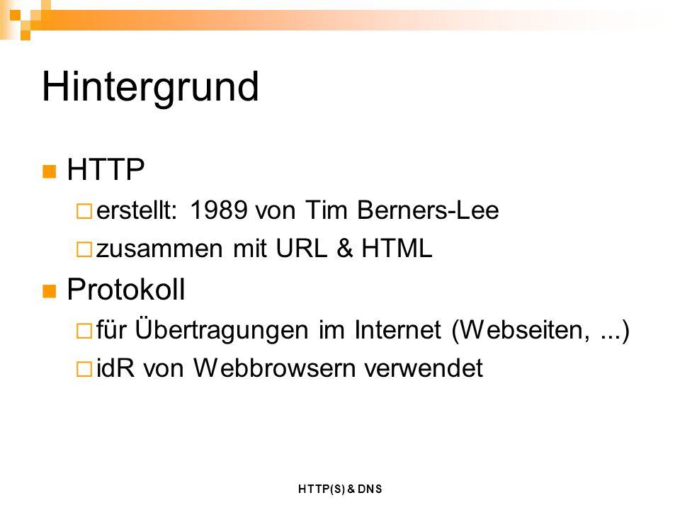 Hintergrund HTTP Protokoll erstellt: 1989 von Tim Berners-Lee