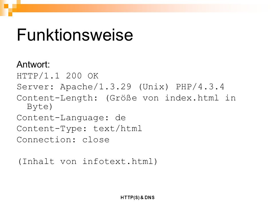 Funktionsweise Antwort: HTTP/1.1 200 OK