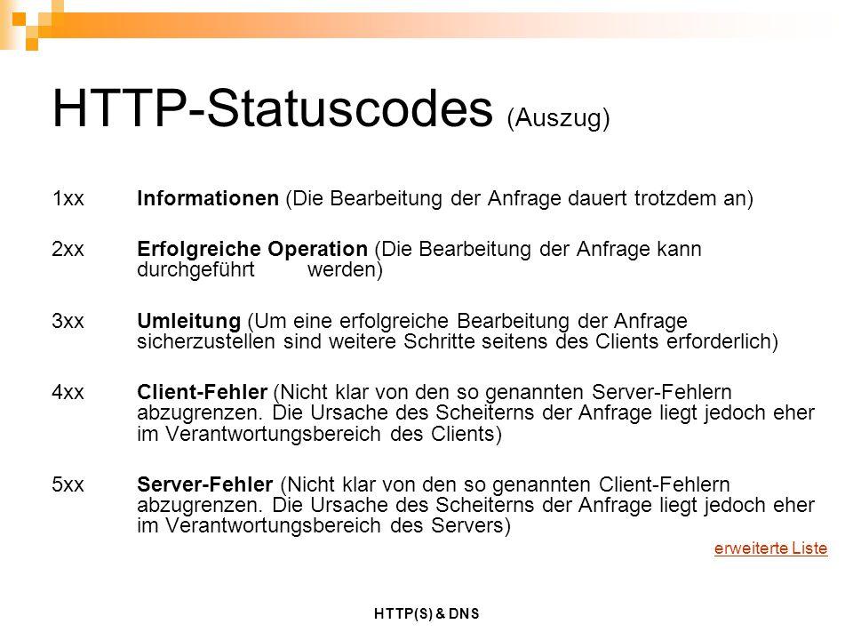 HTTP-Statuscodes (Auszug)