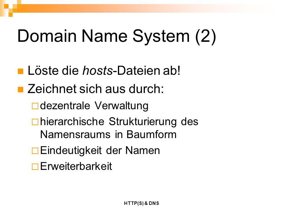Domain Name System (2) Löste die hosts-Dateien ab!