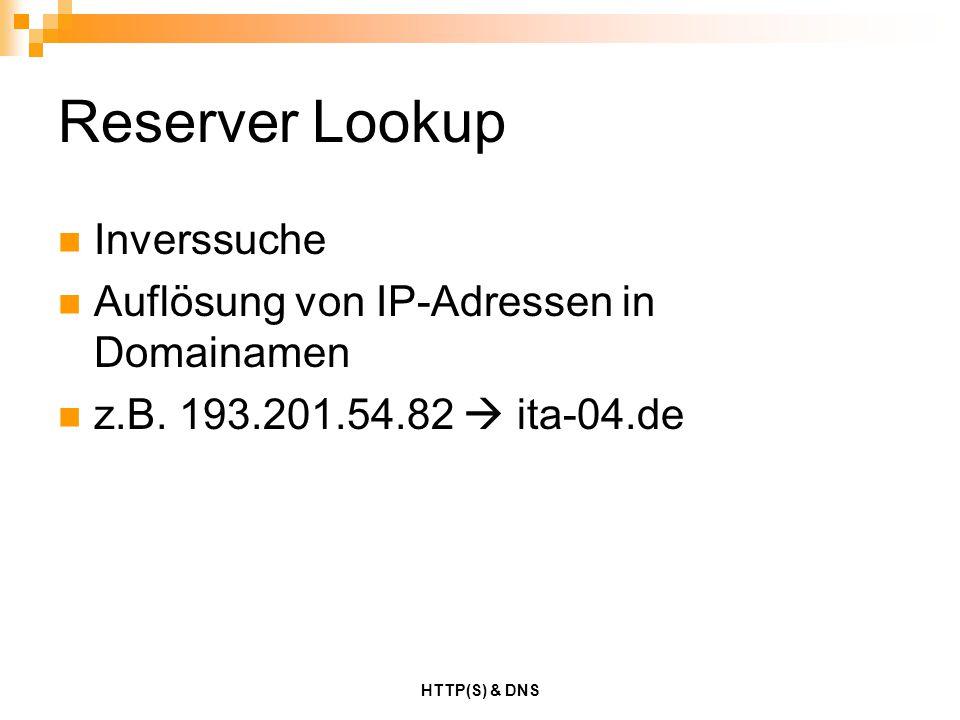Reserver Lookup Inverssuche Auflösung von IP-Adressen in Domainamen