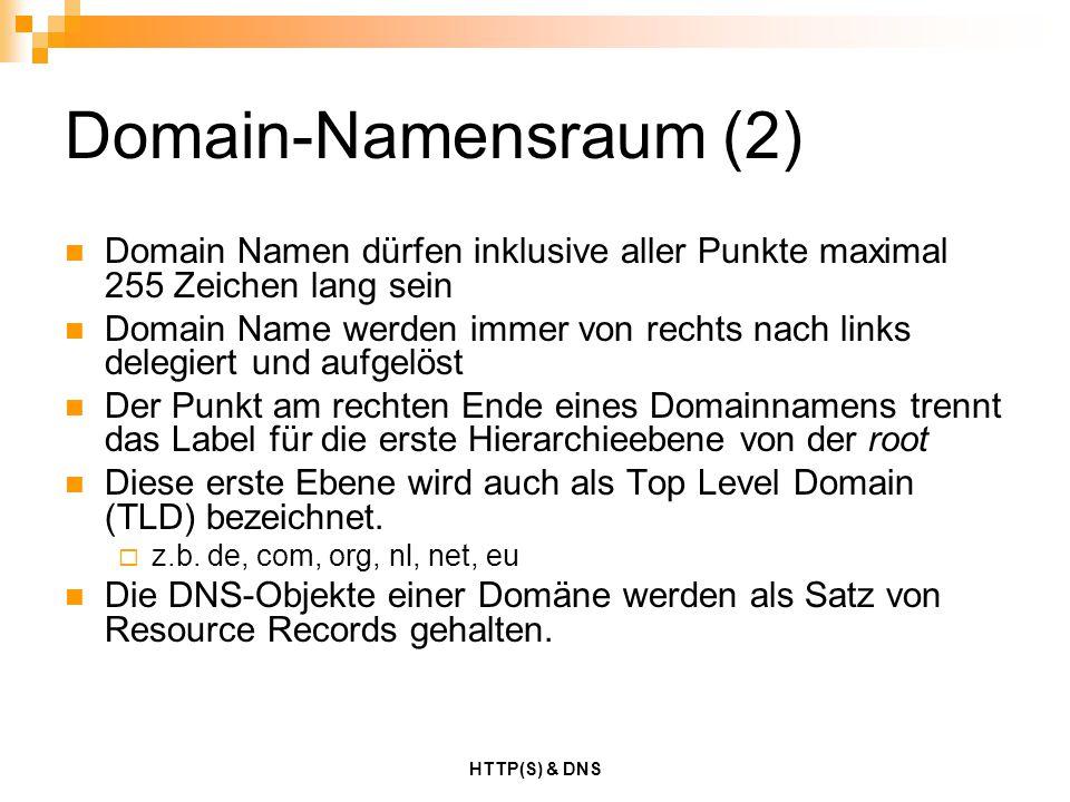 Domain-Namensraum (2) Domain Namen dürfen inklusive aller Punkte maximal 255 Zeichen lang sein.