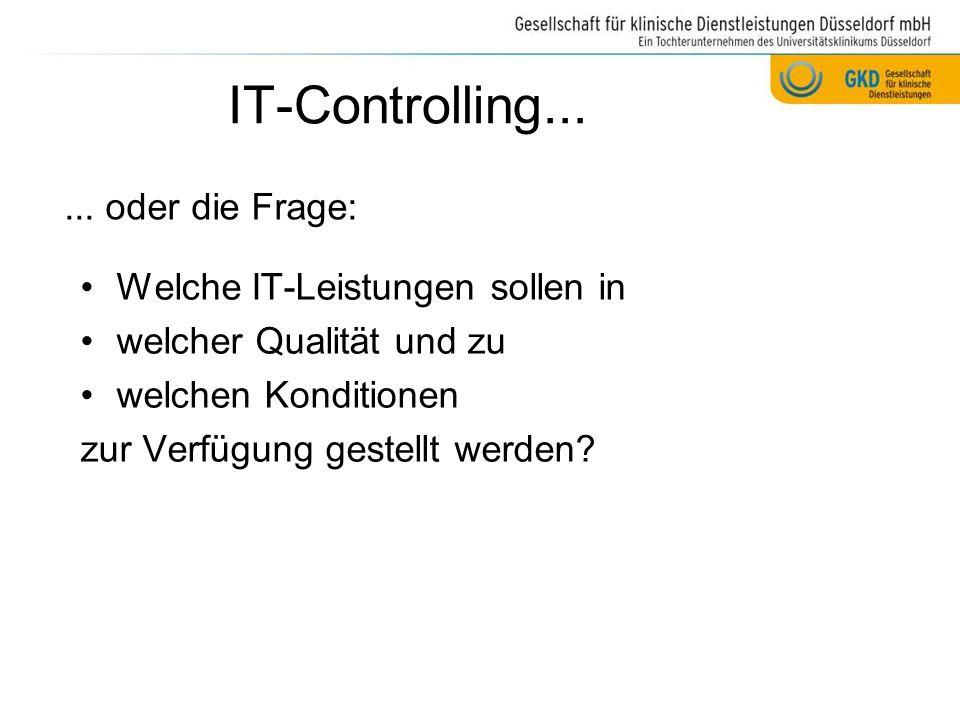 IT-Controlling... ... oder die Frage: Welche IT-Leistungen sollen in
