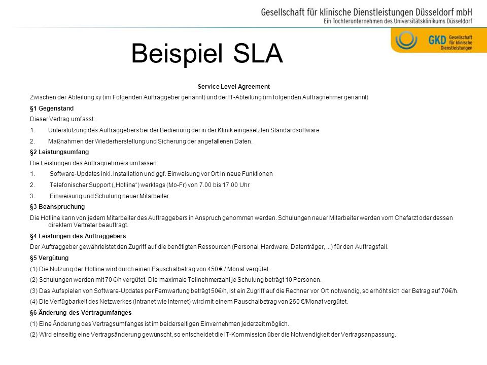 Beispiel SLA Service Level Agreement
