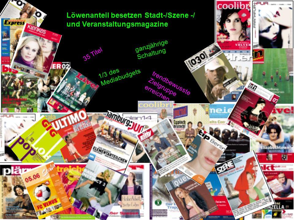 Löwenanteil besetzen Stadt-/Szene -/ und Veranstaltungsmagazine