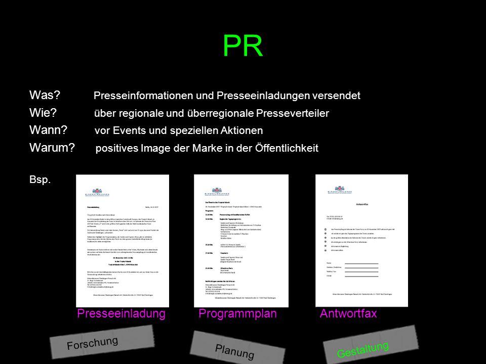 PR Was Presseinformationen und Presseeinladungen versendet