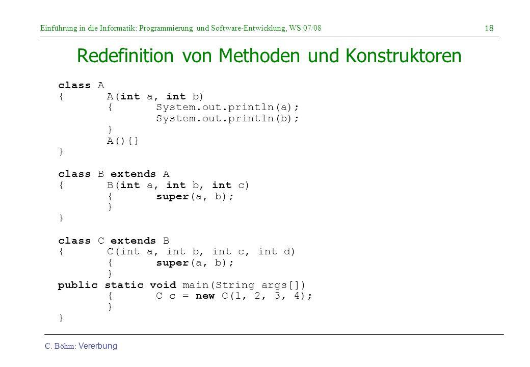 Redefinition von Methoden und Konstruktoren