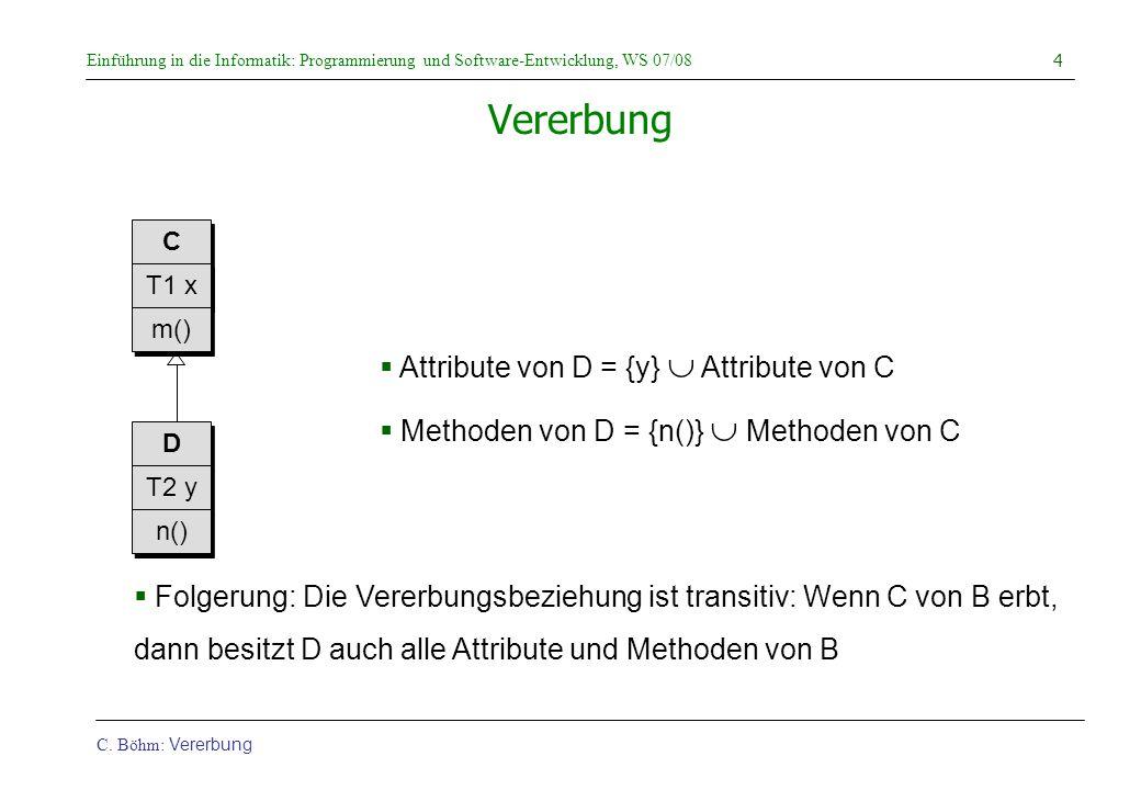 Vererbung Attribute von D = {y}  Attribute von C