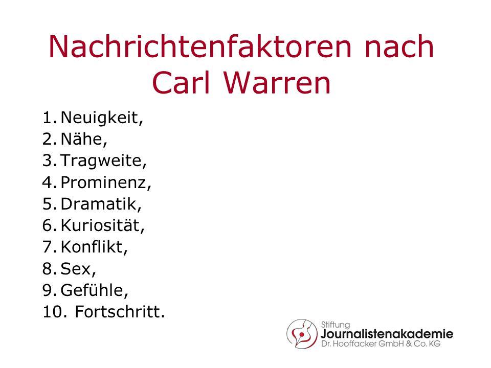 Nachrichtenfaktoren nach Carl Warren