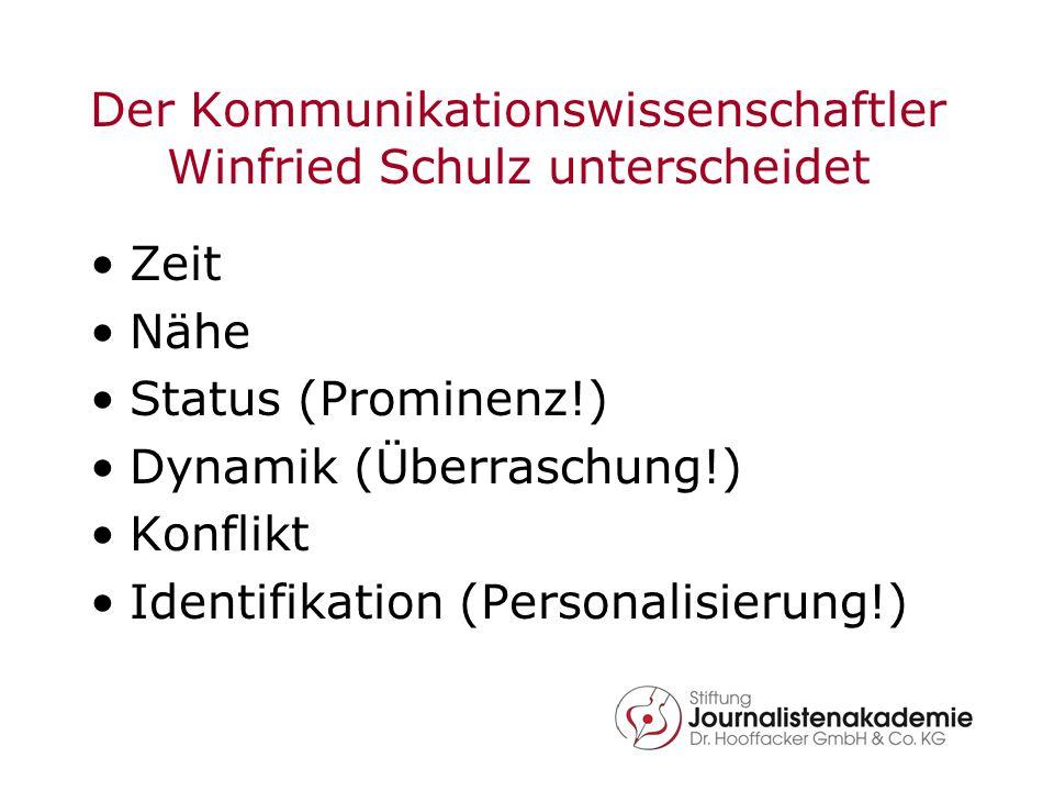 Der Kommunikationswissenschaftler Winfried Schulz unterscheidet