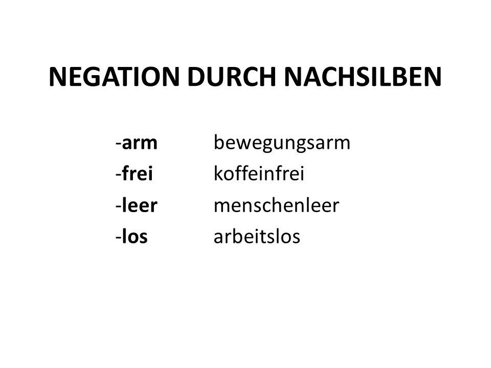 NEGATION DURCH NACHSILBEN