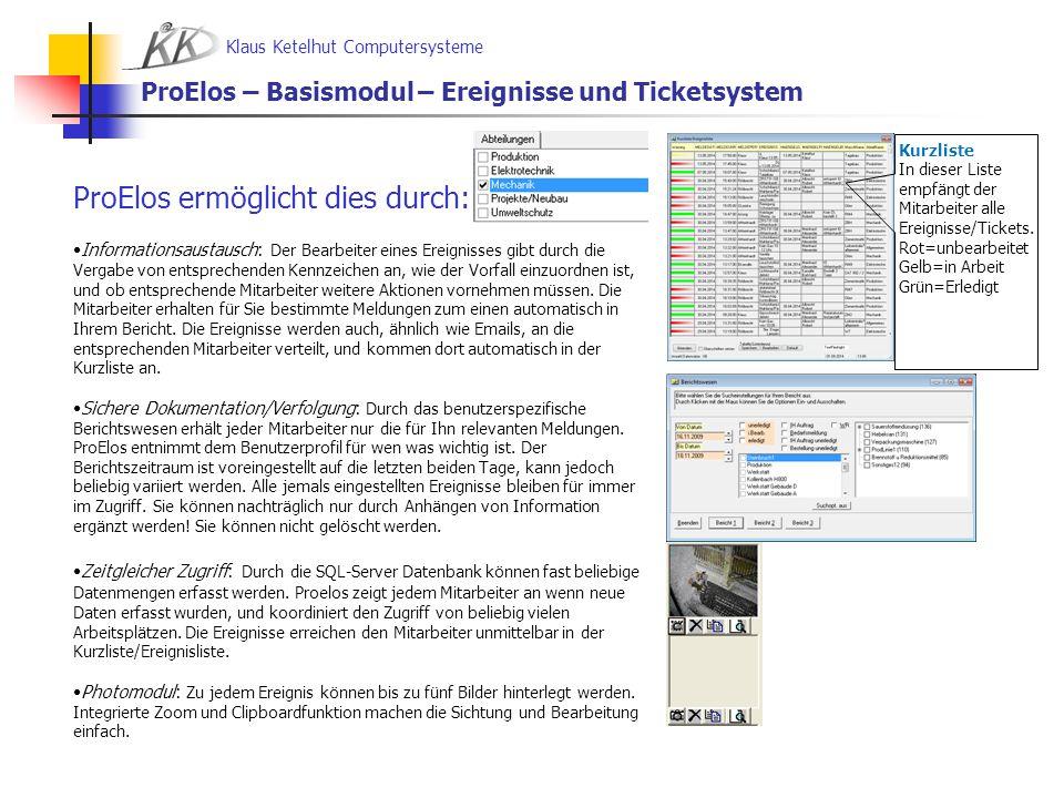 ProElos – Basismodul – Ereignisse und Ticketsystem