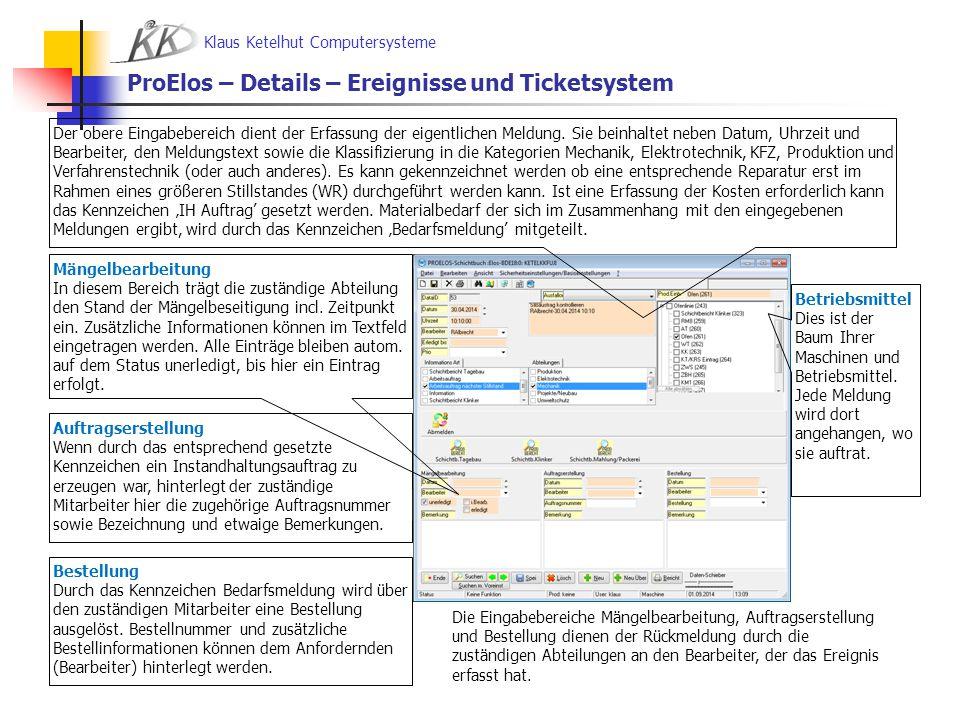 ProElos – Details – Ereignisse und Ticketsystem