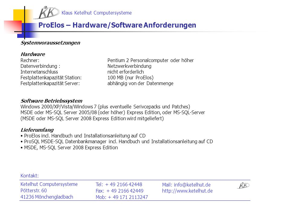 ProElos – Hardware/Software Anforderungen