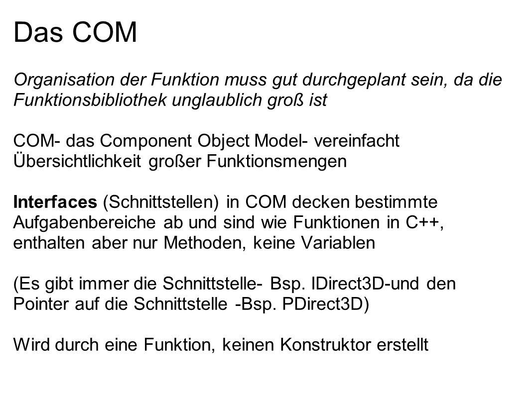 Das COM Organisation der Funktion muss gut durchgeplant sein, da die Funktionsbibliothek unglaublich groß ist.