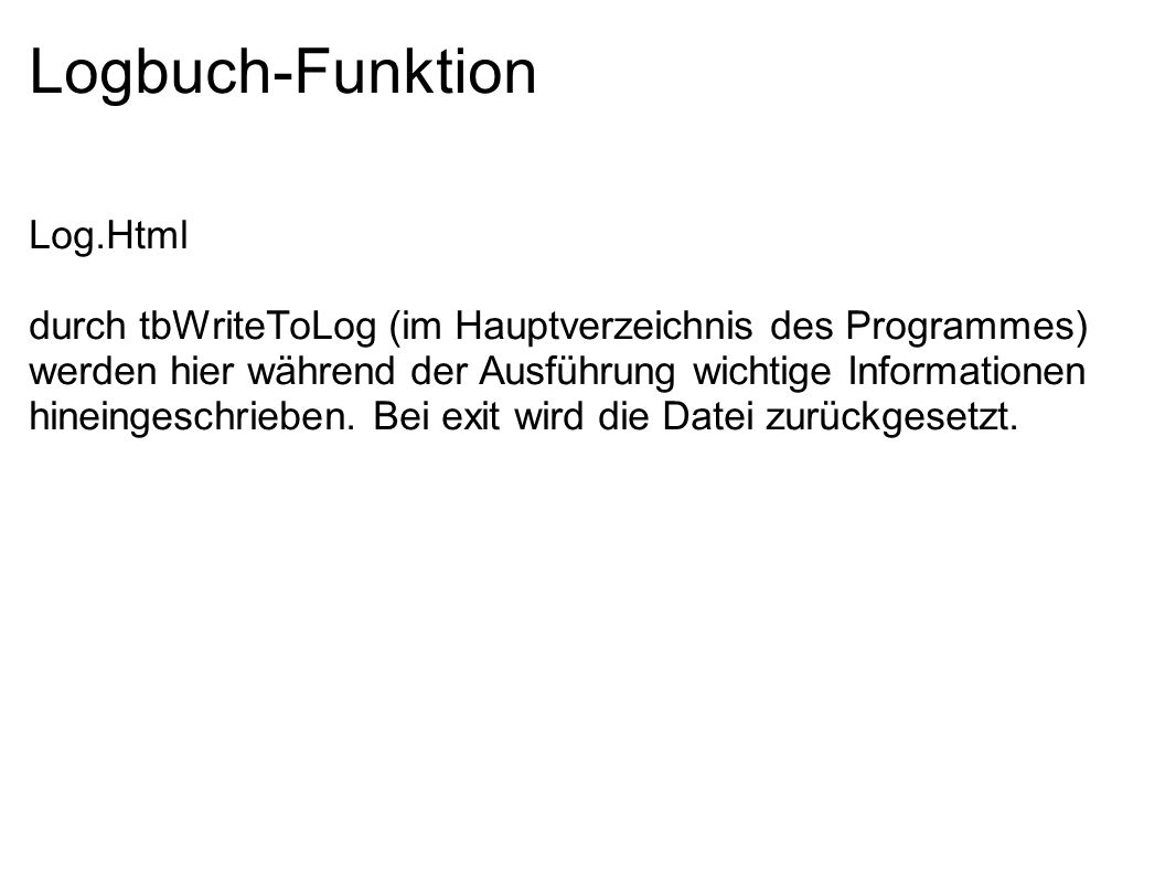 Logbuch-Funktion Log.Html