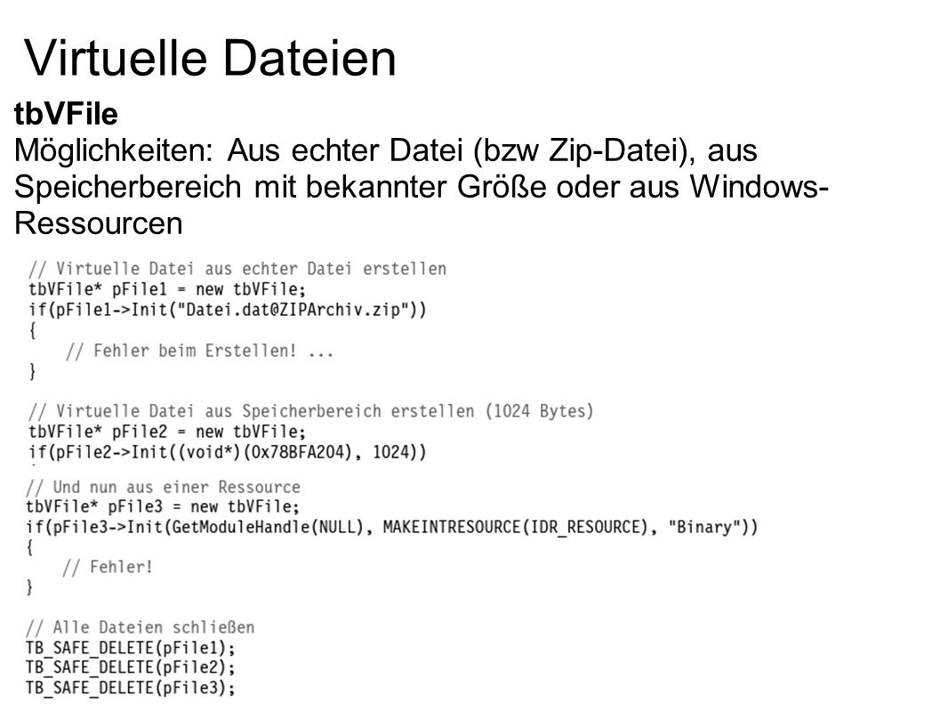 Virtuelle Dateien tbVFile